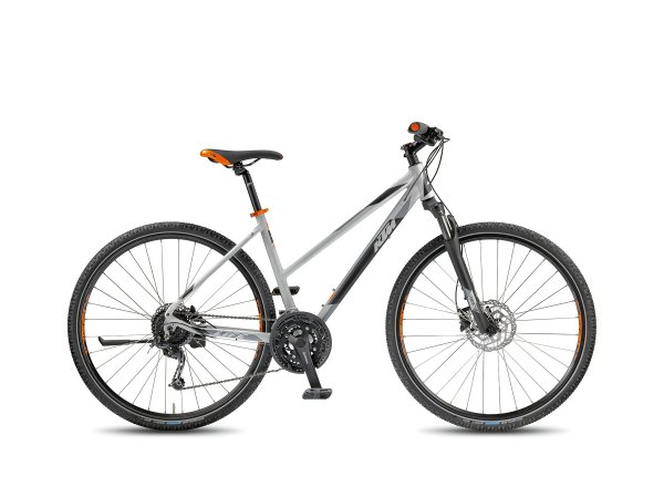 Dámské krosové kolo KTM Life Road 27 DISC 2018 Matt lightgrey/black/orange