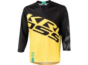 Cyklistický dres KROSS HYDE s 3/4 rukávem black/yellow