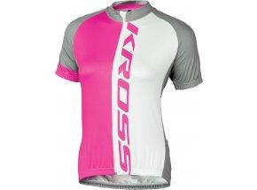 Dámský cyklistický dres KROSS FLOW LADY Pink/white