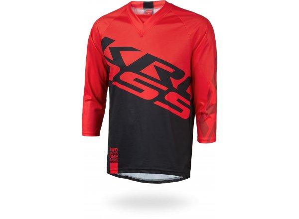 Cyklistický dres KROSS HYDE s 3/4 rukávem Black/red