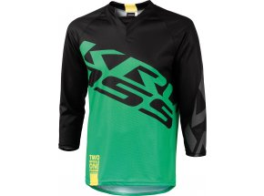 Cyklistický dres KROSS HYDE s 3/4 rukávem Black/green