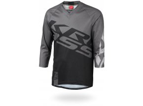 Cyklistický dres KROSS HYDE s 3/4 rukávem Black/grey
