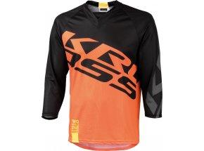 Cyklistický dres KROSS HYDE s 3/4 rukávem Black/orange