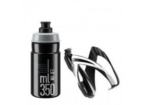 Láhev s košíkem Elite Kit Ceo 350ml Black/grey