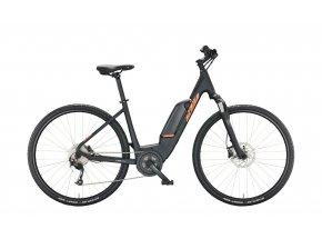 Dámské elektrokolo KTM MACINA CROSS A410 2022 black matt (orange+grey)