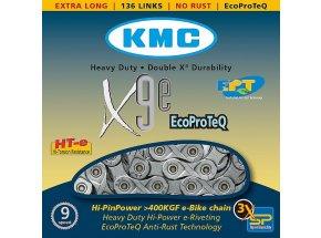Řetěz pro elektrokola KMC X9e EPT 9s Silver